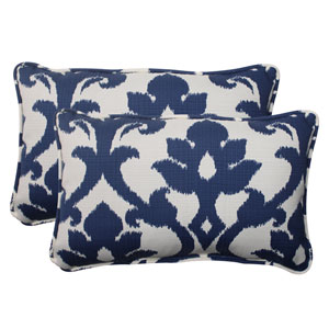 Outdoor Bosco Corded Rectangular Throw Pillow  in Navy, Set of Two