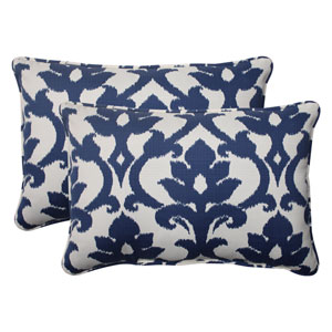 Outdoor Bosco Corded Oversized Rectangular Throw Pillow in Navy, Set of Two