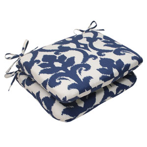 Outdoor Bosco Rounded Seat Cushion in Navy, Set of Two