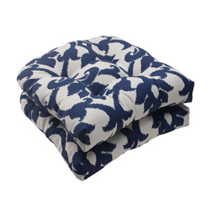 Outdoor Bosco Wicker Seat Cushion in Navy, Set of Two
