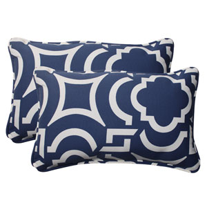 Outdoor Carmody Corded Rectangular Throw Pillow in Navy, Set of Two