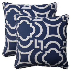 Outdoor Carmody Corded 18.5-Inch Throw Pillow in Navy, Set of Two