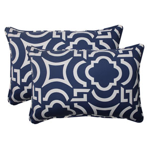 Outdoor Carmody Corded Oversized Rectangular Throw Pillow in Navy, Set of Two