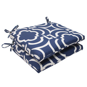Outdoor Carmody Squared Seat Cushion in Navy, Set of Two