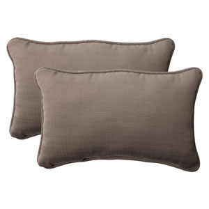 Outdoor Forsyth Corded Rectangular Throw Pillow in Taupe, Set of Two