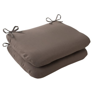Outdoor Forsyth Rounded Seat Cushion in Taupe, Set of Two