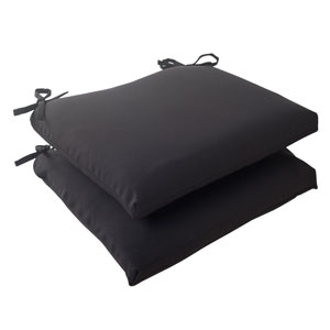 Outdoor Fresco Squared Seat Cushion in Black, Set of Two