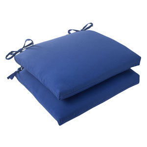 Outdoor Fresco Squared Seat Cushion in Navy, Set of Two