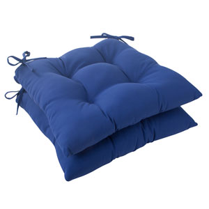 Outdoor Fresco Tufted Seat Cushion in Navy, Set of Two