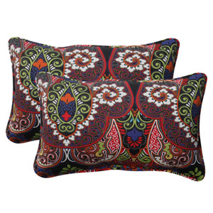 Outdoor Marapi Corded Rectangular Throw Pillow in Black, Set of Two