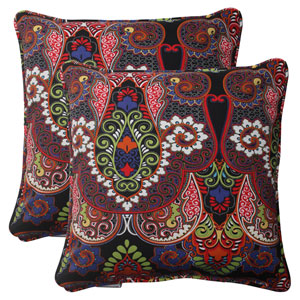Outdoor Marapi Corded 18.5-Inch Throw Pillow in Black, Set of Two