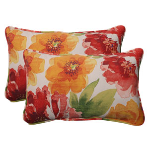 Outdoor Primro Corded Rectangular Throw Pillow in Orange, Set of Two