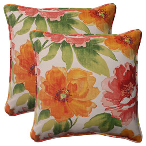 Outdoor Primro Corded 18.5-Inch Throw Pillow in Orange, Set of Two