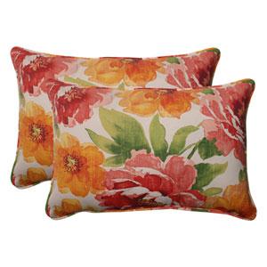 Outdoor Primro Corded Oversized Rectangular Throw Pillow in Orange, Set of Two