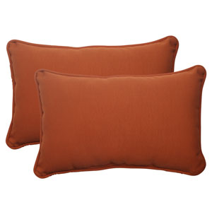 Outdoor Cinnabar Corded Rectangular Throw Pillow in Burnt Orange, Set of Two