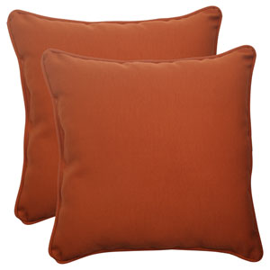 Outdoor Cinnabar Corded 18.5-Inch Throw Pillow in Burnt Orange, Set of Two