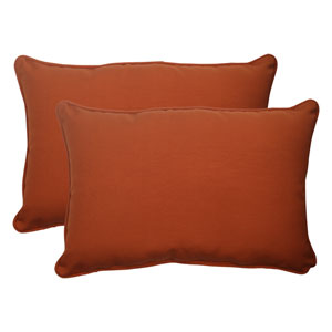 Outdoor Cinnabar Corded Oversized Rectangular Throw Pillow in Burnt Orange, Set of Two