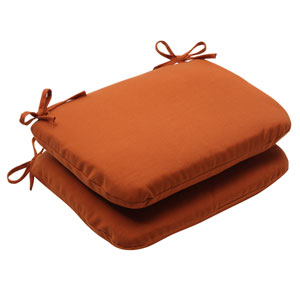 Outdoor Cinnabar Rounded Seat Cushion in Burnt Orange, Set of Two