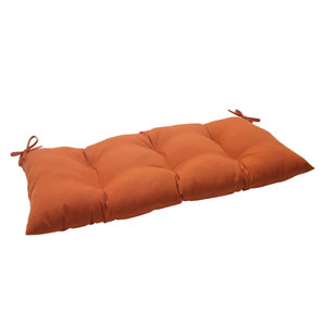 Outdoor Cinnabar Tufted Loveseat Cushion in Burnt Orange