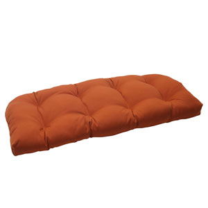 Outdoor Cinnabar Wicker Loveseat Cushion in Burnt Orange