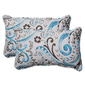 Outdoor Paisley Corded Rectangular Throw Pillow in Tidepool, Set of Two
