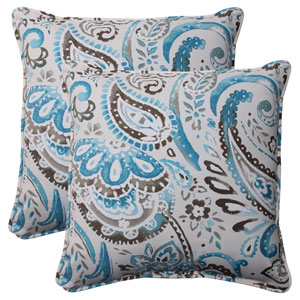 Outdoor Paisley Corded 18.5-Inch Throw Pillow in Tidepool, Set of Two