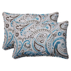 Outdoor Paisley Corded Oversized Rectangular Throw Pillow in Tidepool, Set of Two