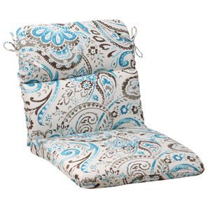 Outdoor Paisley Rounded Chair Cushion in Tidepool