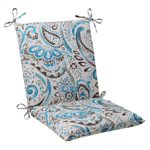 Outdoor Paisley Squared Chair Cushion in Tidepool