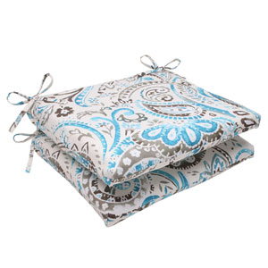 Outdoor Paisley Squared Seat Cushion in Tidepool, Set of Two