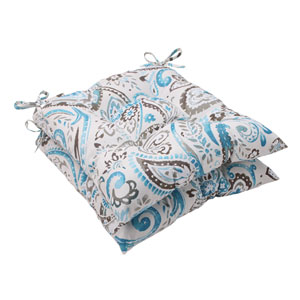 Outdoor Paisley Tufted Seat Cushion in Tidepool, Set of Two