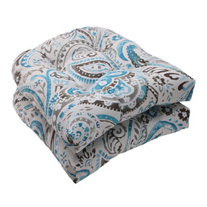 Outdoor Paisley Wicker Seat Cushion in Tidepool, Set of Two