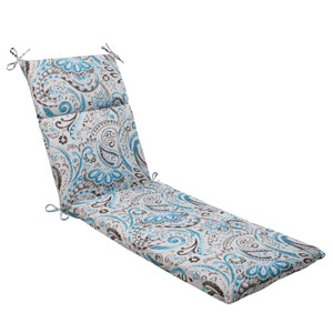 Outdoor Paisley Chaise Lounge Cushion in Tidepool