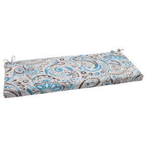 Outdoor Paisley Bench Cushion in Tidepool