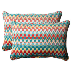 Outdoor Nivala Corded Oversized Rectangular Throw Pillow in Blue, Set of Two