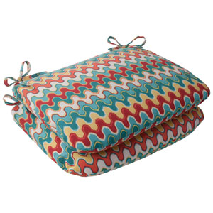 Outdoor Nivala Rounded Seat Cushion in Blue, Set of Two