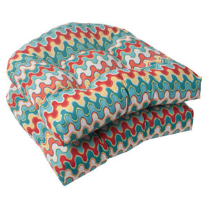 Outdoor Nivala Wicker Seat Cushion in Blue, Set of Two