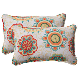 Outdoor Fairington Corded Rectangular Throw Pillow in Aqua, Set of Two