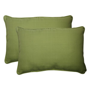 Outdoor Forsyth Corded Oversized Rectangular Throw Pillow in Green, Set of Two