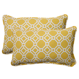 Outdoor Rossmere Corded Rectangular Throw Pillow in Yellow, Set of Two