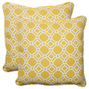 Outdoor Rossmere Corded 18.5-Inch Throw Pillow in Yellow, Set of Two