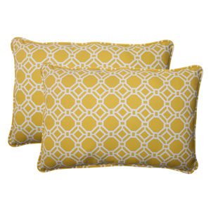 Outdoor Rossmere Corded Oversized Rectangular Throw Pillow in Yellow, Set of Two