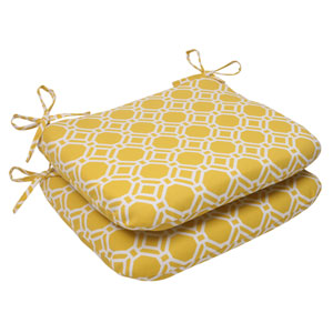 Outdoor Rossmere Rounded Seat Cushion in Yellow, Set of Two
