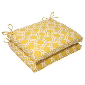 Outdoor Rossmere Squared Seat Cushion in Yellow, Set of Two