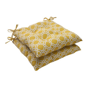 Outdoor Rossmere Tufted Seat Cushion in Yellow, Set of Two