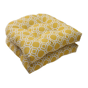 Outdoor Rossmere Wicker Seat Cushion in Yellow, Set of Two