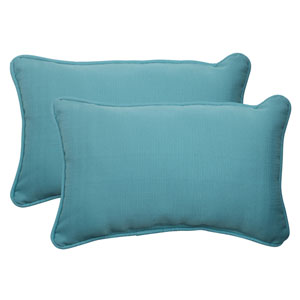 Outdoor Forsyth Corded Rectangular Throw Pillow in Turquoise, Set of Two