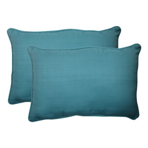 Outdoor Forsyth Corded Oversized Rectangular Throw Pillow in Turquoise, Set of Two