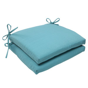 Outdoor Forsyth Squared Seat Cushion in Turquoise, Set of Two