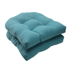 Outdoor Forsyth Wicker Seat Cushion in Turquoise, Set of Two